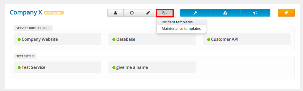Incident Templates – StatusHub